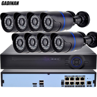 GADINAN H 265 8CH POE System 8Channel 4MP NVR PoE Kit CCTV System 8PCS 2MP 3MP