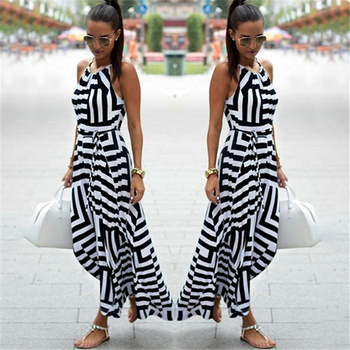 Women Dress Summer Boho Striped Sleeveless Long Dress