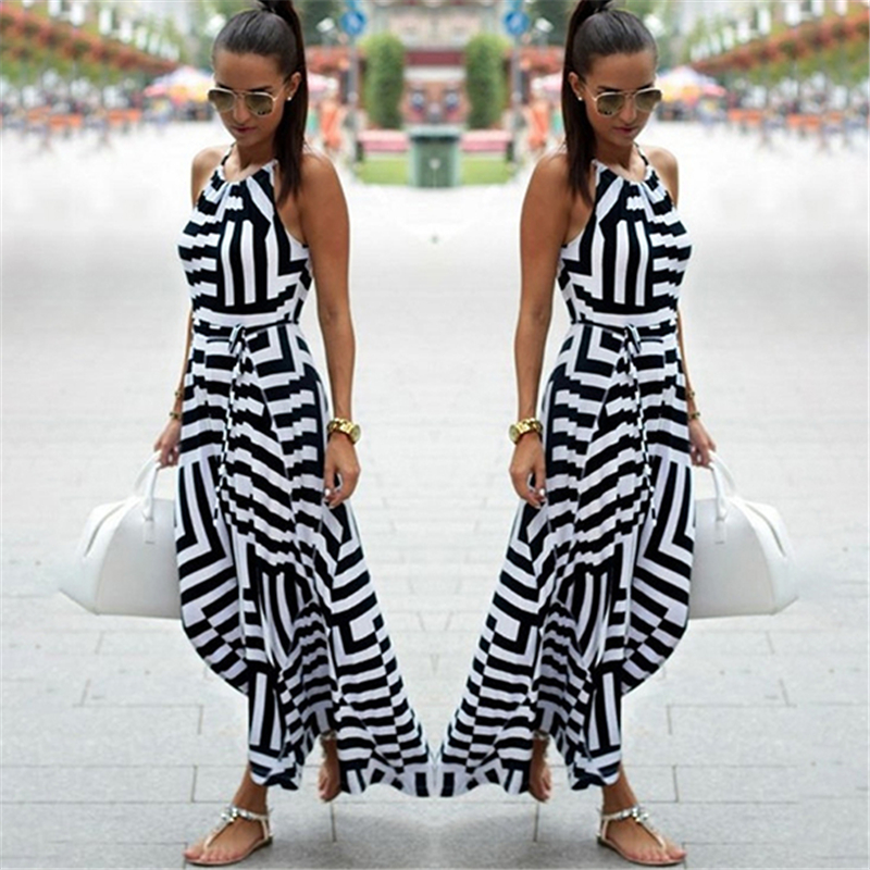 Femmes Sexy Robe D'été Boho Rayé Sans Manches Maxi Robe Longue Plage Style Sangle Robe Vestidos pour Femme NQ987428