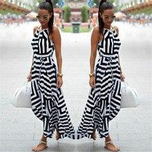 f304f3f5e1 Bigsweety nueva moda mujer Sexy Boho rayas vestido verano Maxi vestido  largo sin mangas de la playa Correa vestido de Vestidos p.