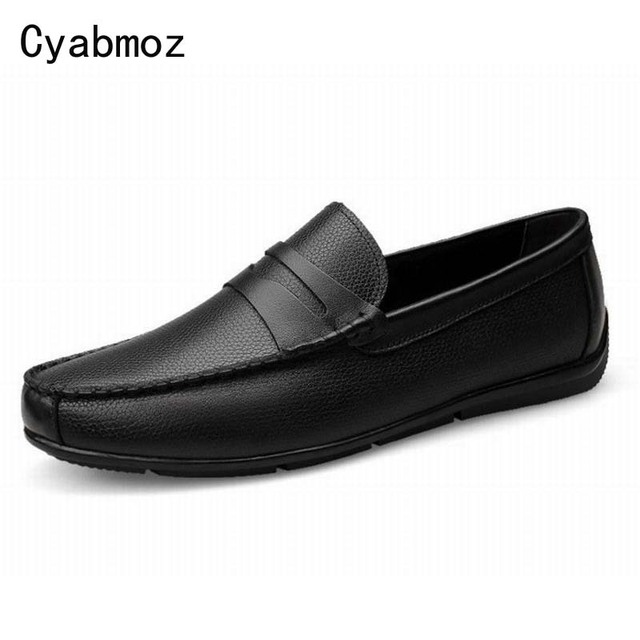 Retro Men's Real Leather Shoes Comfort Slip-On Casual Loafers Spring Shoes Leisure Shoes