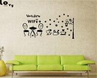 無料wifi記号ビニール壁ステッカーカフェレストランバーパブショップインターネット店ガラスドアwindows壁デカール家の装飾Wa0041