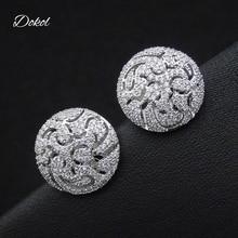 DOKOL Luxury Hollow-out Stud Earrings Bridal Jewelry Micro Paved Tiny AAA Cubic Zirconia Elegant Women Earring Wedding DKE0144