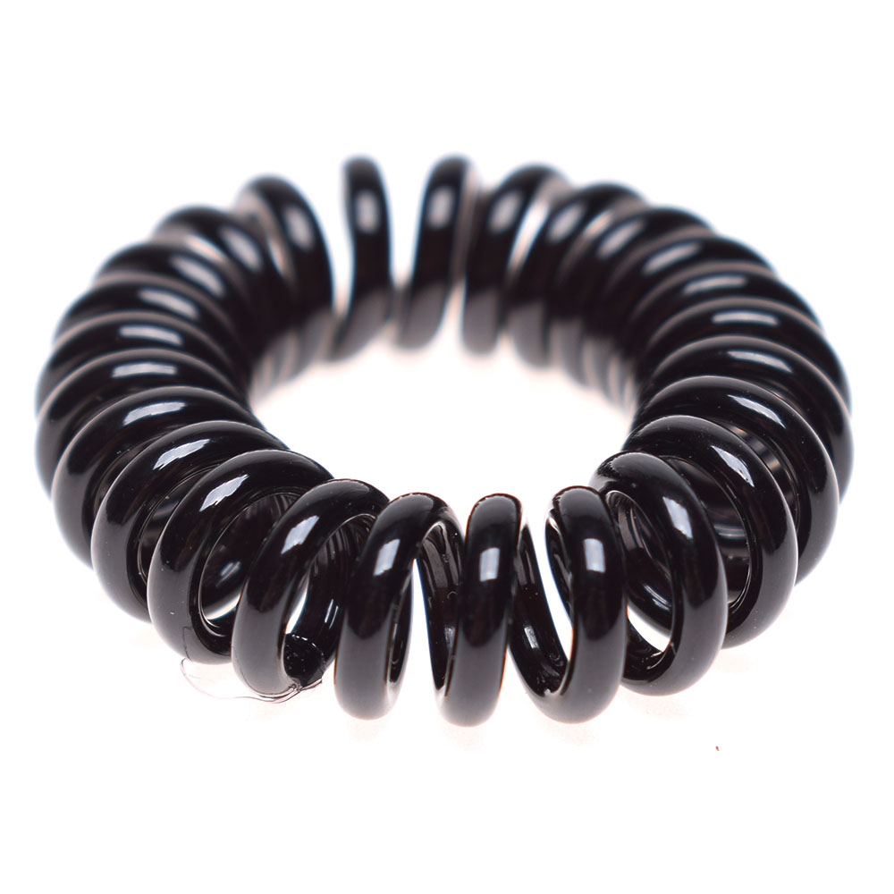 10pcs Rubber Material Hair Band Black Telephone Line Pattern Elastic Girl Hair Ties Bands Headband Rope Fashion