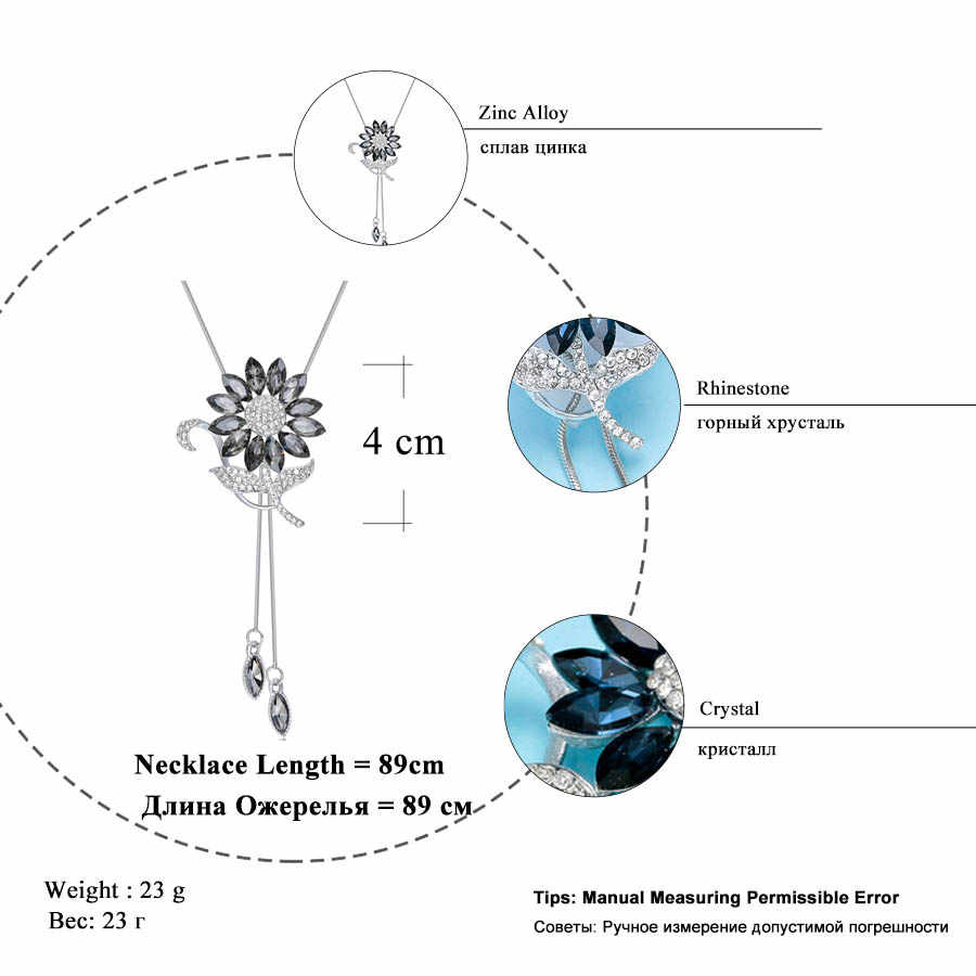 Ravimour Hoa Hướng Dương Pha Lê Mặt Dây Chuyền Nữ Trang Sức Thời Trang Xanh Dương Trắng Ren Dài Bạc Dây Chuyền Choker Đầm Maxi Collares