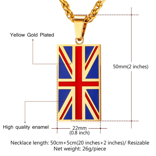 New Hot England National Flag Pendant Stainless Steel/Gold Color UK Patriot Necklace Women/Men Jewelry 2017 Wholesale GP2446 3