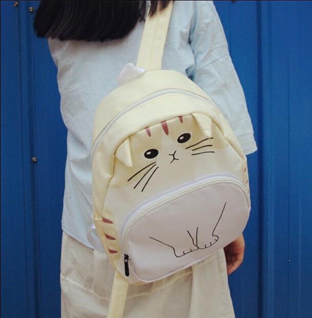Japanese Cute Cat Ears Women Black Backpack Soft Sister Korean Ulzzang Student Kawaii School Bag Super