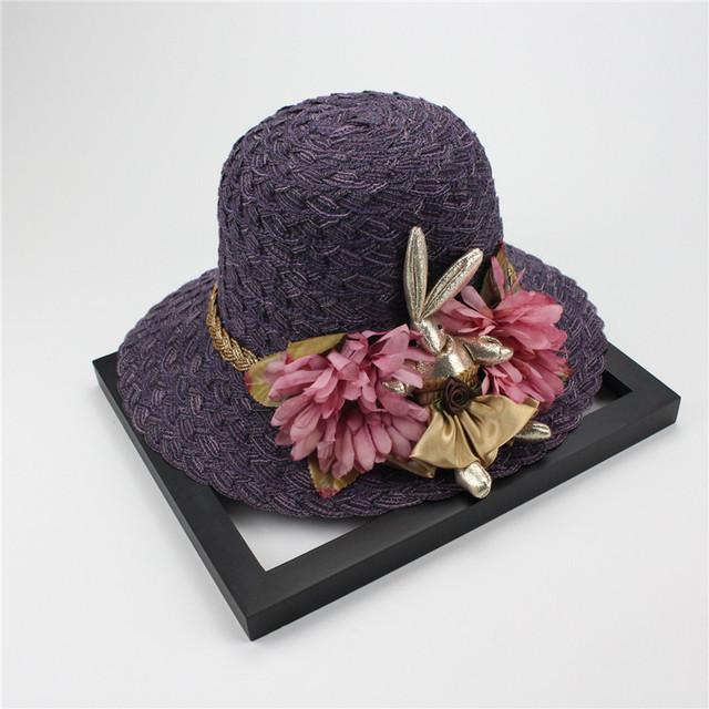 Woman Summer Hat Wide Brim Rabbit Flowers Hand-Woven Straw Hat Bohemian Beach Hats For Women