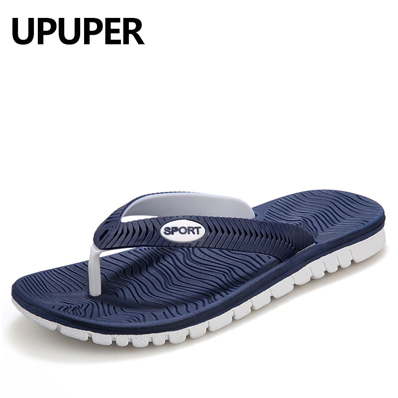 UPUPER Summer Men Flip Flops Male Mixed Color Slippers Men Casual PVC EVA Shoes Summer Fashion Beach Sandals Size 40~45(China)