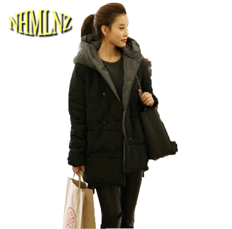 2017 New Winter Fashion Women Coat Hooded Knitted Splicing Keep warm Cotton Down jacket Big yards Thick Slim Leisure Coat G2227 2017 new winter fashion women down jacket hooded thick super warm medium long female coat long sleeve slim big yards parkas nz18