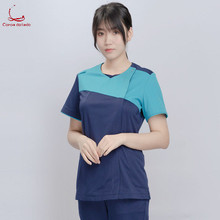 Doctor's hand suit nurse's summer short sleeve stitching color round collar split suit operating uniform