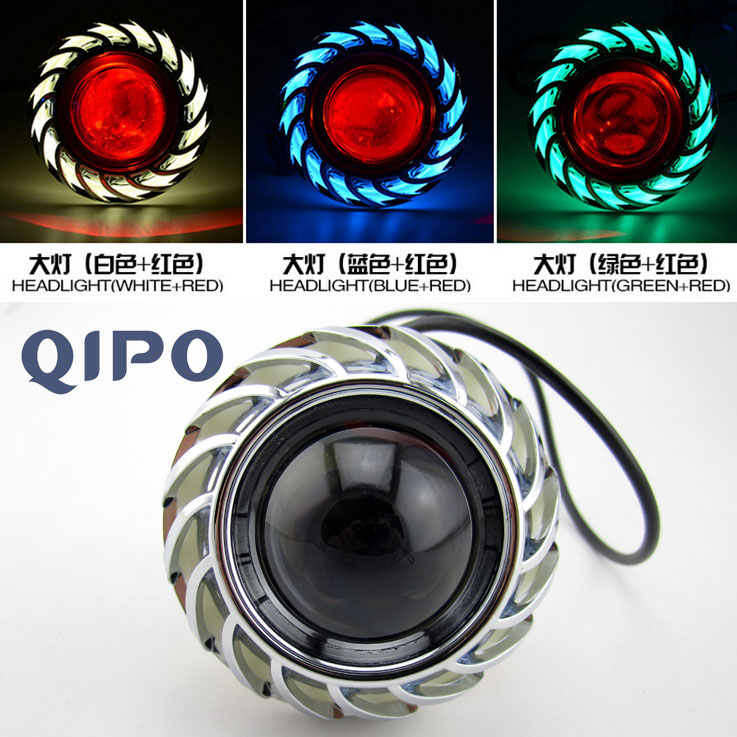 QIPO LED Motorcycle headlight lens LED 20W angel devil eye headlamps modified flash LED  ...