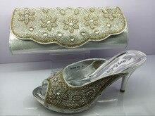 รองเท้าแอฟริกันและกระเป๋าจับคู่ตั้งด้วยหินมากมายและอิตาลีรองเท้าและเงินขนาด37-42 MF095