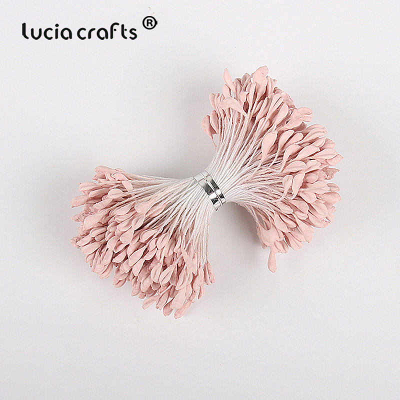 Image 3 - Lucia crafts 330pcs 3mm high quality Matte  double heads flower stamen pistil cake decoration craft DIY C1202-in Artificial & Dried Flowers from Home & Garden