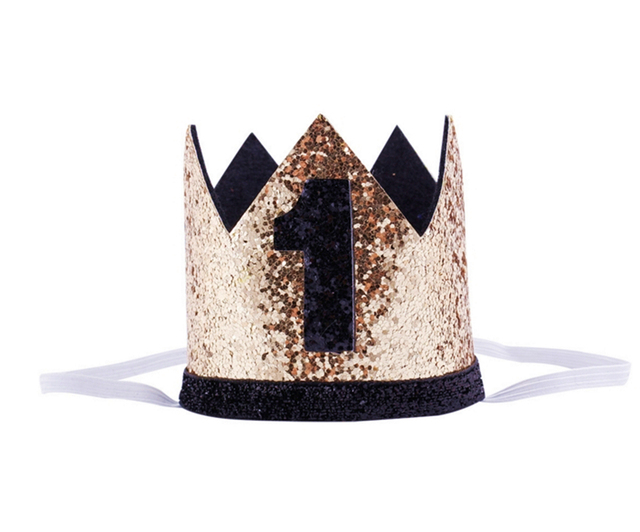 Baby Shower Boys Blink Golden Balck 1st Birthday Hat Kids Number Crown 2nd 3rd Year Old Party First Headband