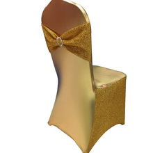 Glitter Gold Sequin Lycra Chair Cover For Banquet Wedding 100 pcs Free Shipping