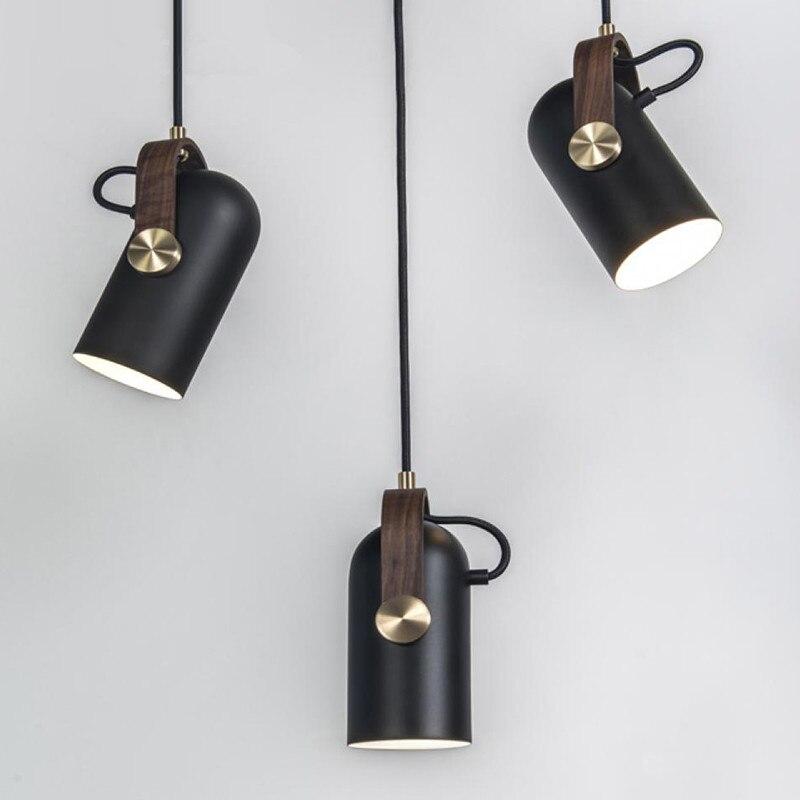 Lampes suspendues modernes en métal noir lampes suspendues pour salon cuisine projecteurs LED lampe à bois luminaires d'intérieur