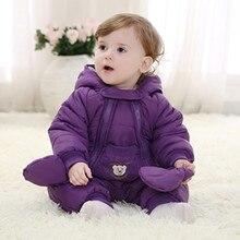 Зима детская одежда толстые теплые осень и зима одежда новорожденного ребенка на улице в зимнее восхождение одежда Ползунки костюмы мягкий
