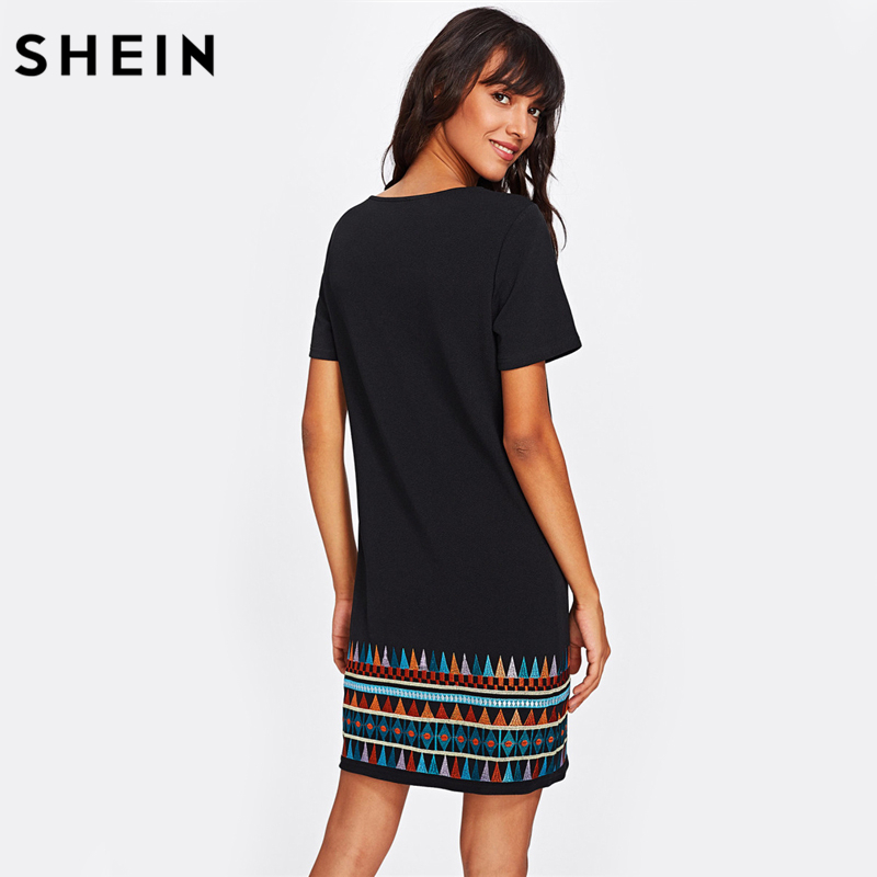 38364e474b SHEIN Aztec Embroidered Hem Dress Black Short Sleeve Round Neck A Line Boho  T shirt Dress Casual Ladies Dresses-in Dresses from Women's Clothing on ...