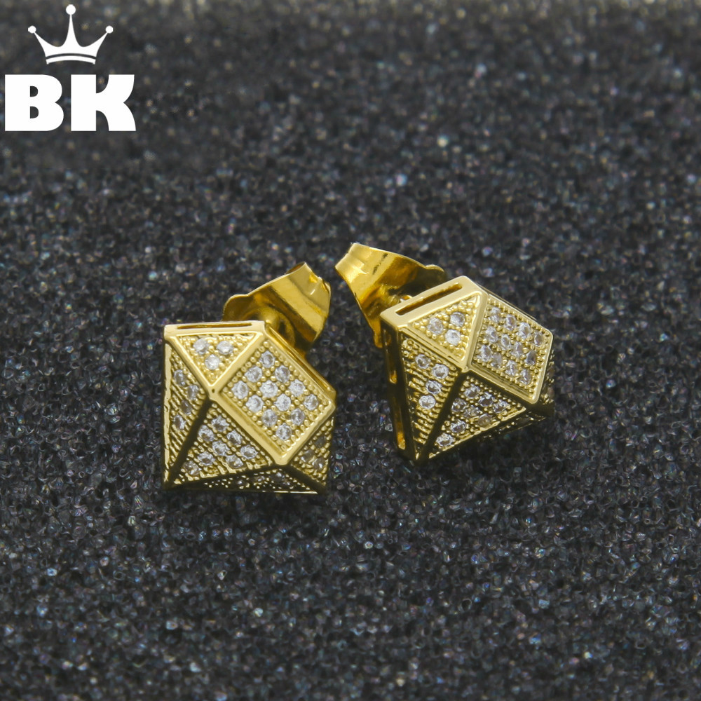 Hip Hop Full Iced Out Cz Simulated Diamonds Earring Gold Color Irregular Copper Earring High Quality - Earrings For Men