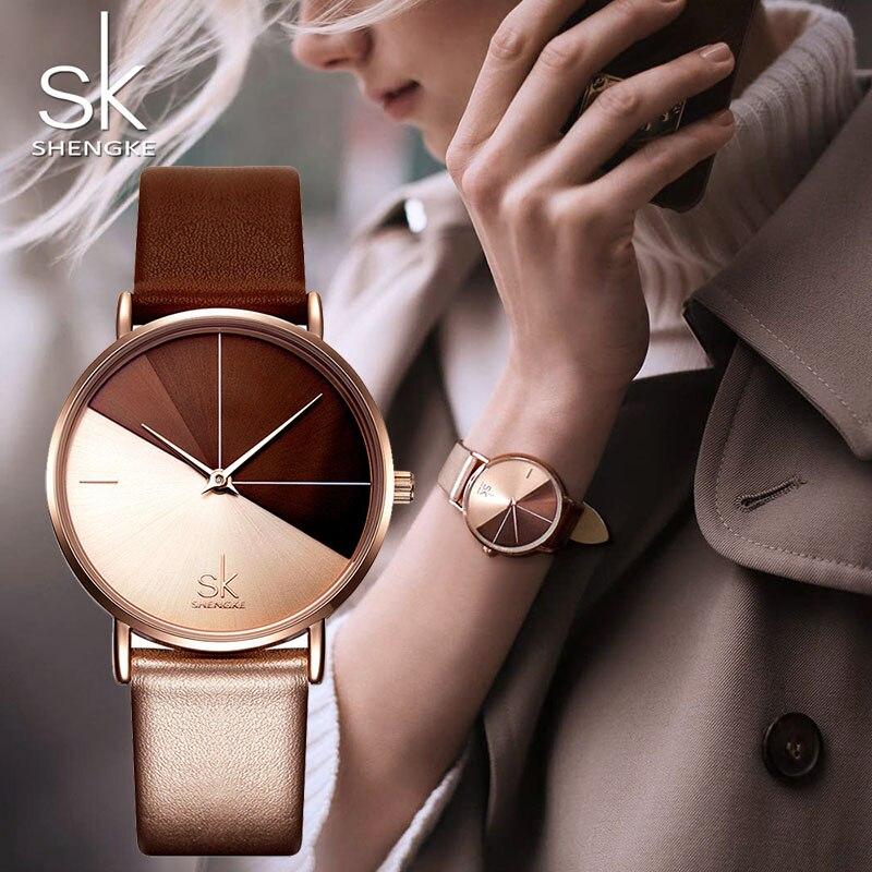 SK Luxus Leder Uhren Frauen Kreative Mode Quarz Uhren Für Reloj Mujer 2018 Damen Armbanduhr SHENGKE relogio feminino
