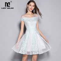 Lady Milan Sexy V Neck Short Sleeves Lace Patchwork Fashion Homecoming Runway Dresses