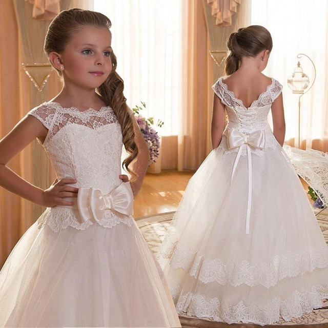 c29cbe7d45b96 Aliexpress.com : Buy Girl Children Wedding Dress white First Holy Communion  Formal long Sleeveless Lace Princess Party Prom Dress for Girl 3 12yrs ...