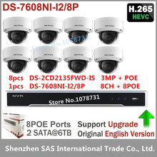 8pcs Hikvision DS-2CD2135FWD-IS H.265 3MP IP Camera Video Surveillance + Hikvision NVR DS-7608NI-I2/8P 8CH 8ports POE
