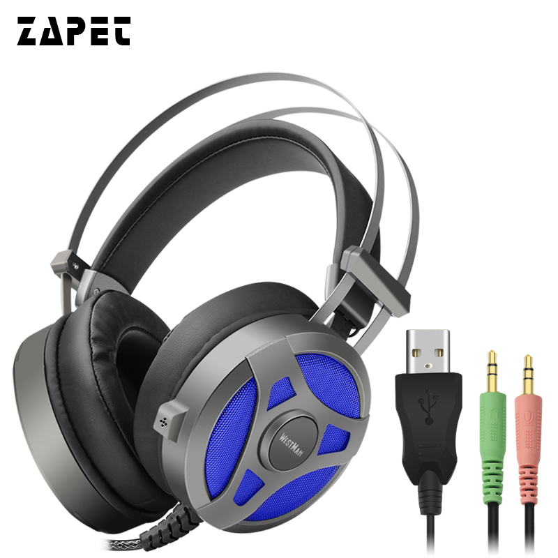 HOT ZAPET Headphones Gaming Headset casque Computer Game Headset Stereo with Microphone and Light for PC Gamer best casque computer stereo gaming headphones deep bass game earphone headset gamer with microphone mic for pc game
