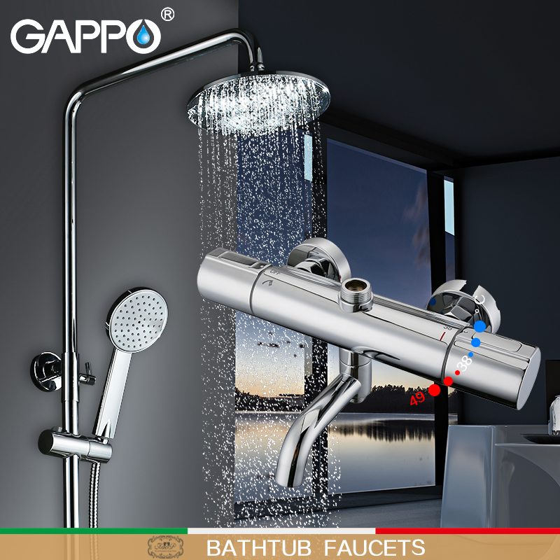 GAPPO Bathtub Faucets thermostat shower thermostatic mixing valve bath shower rainfall shower thermostatic shower faucet аксессуар gappo g8001