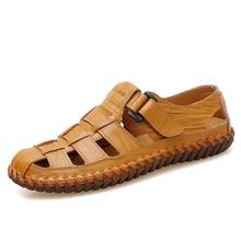 VANCAT New Summer Men Sandals 2018 Leisure Beach Men Shoes High Quality Genuine Leather Sandals The Men's Sandals Big size 39-47