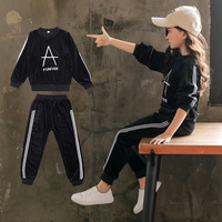 Girls Sets Autumn New Gold Velvet Letters Two Piece Set Fashion Casual Kids Letter Toddler Suits Baby Sports Good Cute Clothes