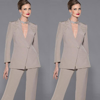 c12b77ee93a88 2018 New Fashion Elegant Mother Of Bride Pant Suits Long Sleeves Two Pieces  Deep V Neck