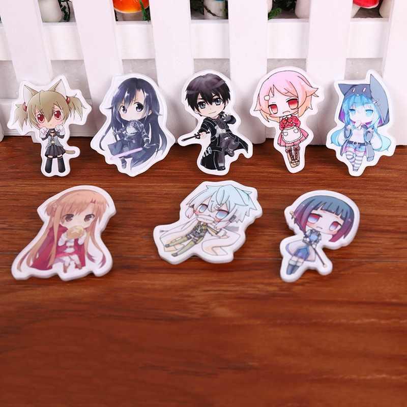 Japão Anime Crachá Moeda Espada de Arte Em Linha Kirito Asuna Yuuki Broche pin Pano Roupas decoração breastpin Cosplay mochila decoração