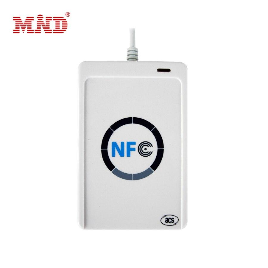 1 ensemble professionnel USB ACR122U NFC RFID lecteur de carte à puce écrivain pour tous les 4 types de NFC (ISO/IEC18092) étiquettes + 5 pièces M1 cartes