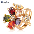 Beagloer Fashion Gold Plate Multicolor Zircon Austrian Crystals Gorgeous Flower Engagement Rings Wedding Jewelry Ri-HQ0083