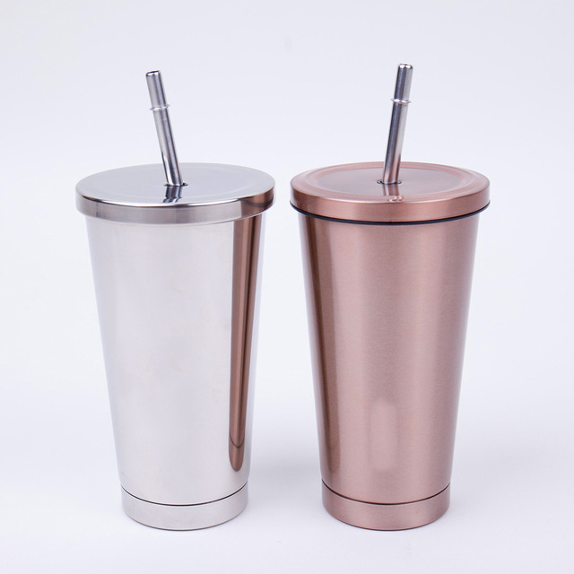 16 Oz Stainless Steel Double Walled Insulated Tumbler with Lid and Straw