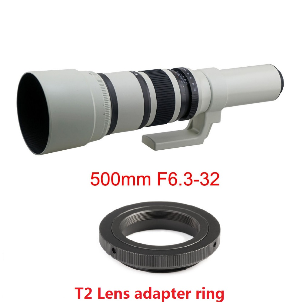 White 500mm F/6.3 Telephoto Fixed Prime Telephoto Lens+T2 Lens Adapter Ring for Canon Nikon Sony Pentax DSLR Cameras 1