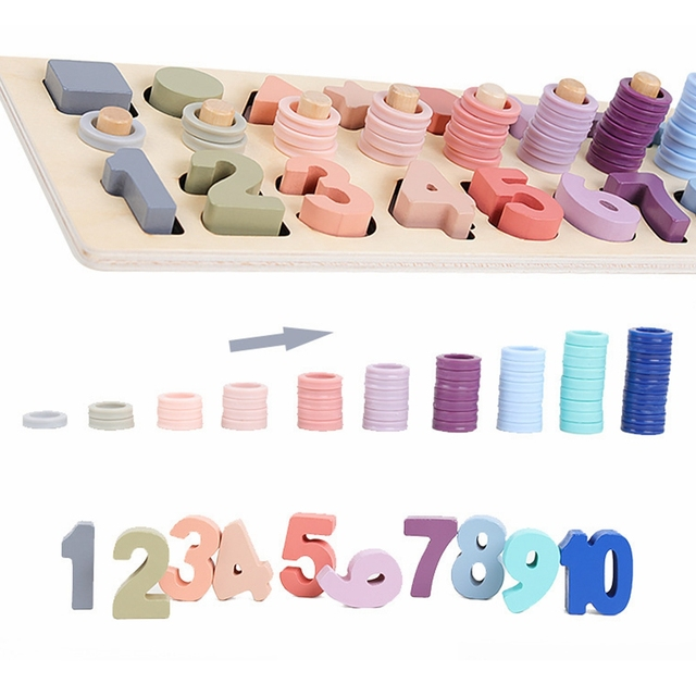 Preschool Wooden Montessori Toys Count Geometric Shape Cognition Match Baby Early Education Teaching Aids Math Toys For Children 4