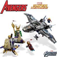 The Avengers Set Quinjet Aerial Battle Iron Man Loki Thor Marvel Super Hero Building Blocks Toy Figure Lepin