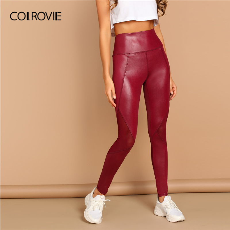 COLROVIE Burgundy Solid Wide Waistband Mesh Sheer Women   Leggings   2019 Spring Stretch Skinny Fashion Pants Female Casual Trousers