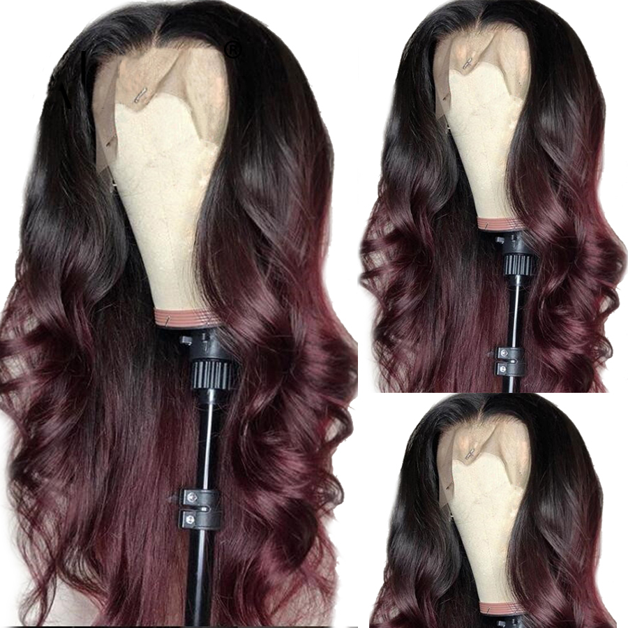 Body Wave 13X6 360 Lace Front Human Hair Wigs 99j Burgundy Ombre Brazilian Remy With Baby Hair PrePlucked Hairline Full Lace Wig