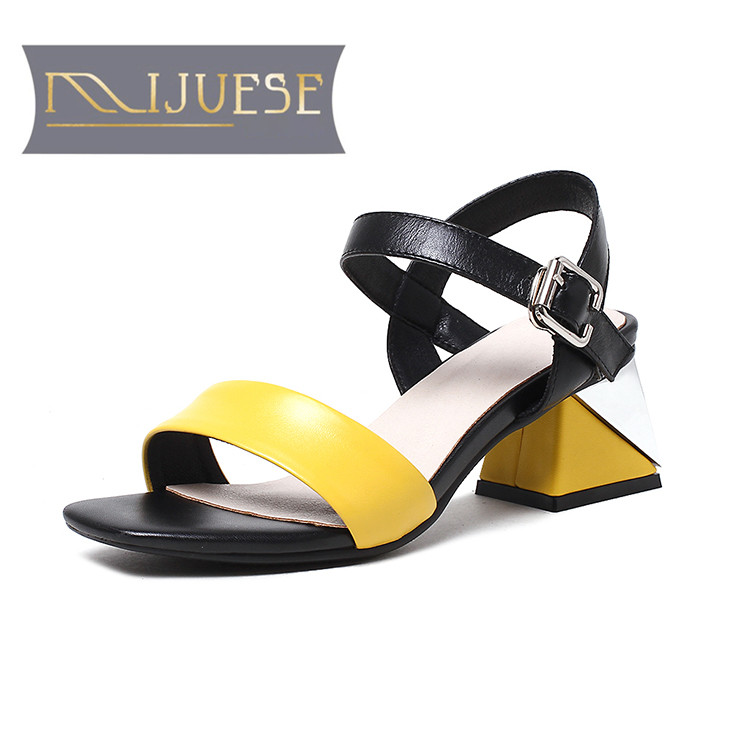 MLJUESE 2018 women slippers Genuine leather summer outside style Yellow color buckle strap high heels sandals women size 34-41MLJUESE 2018 women slippers Genuine leather summer outside style Yellow color buckle strap high heels sandals women size 34-41