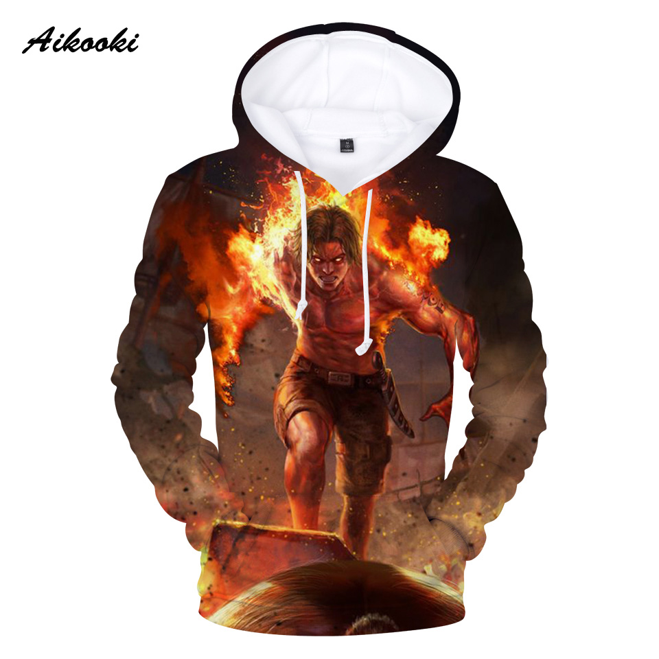 Aikooki 3D Fire One Piece Hoodies Men Sweatshirts Hoodies 3D Print Fashion Casual Winter Hoody Polluver Man Hooded Clothes