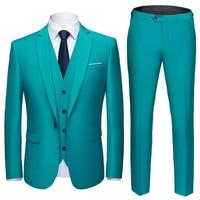 Suit Men 3 Pieces (Blazers+ Pants +Vest) Social Suit Men Fashion Solid Business Suit Set Casual Formale Suits Plus Size S 6XL