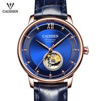CADISEN Лидирующий бренд Роскошные модные бизнес для мужчин Автоматический Механические часы с турбийоном для женщин кожа подвески для пары и
