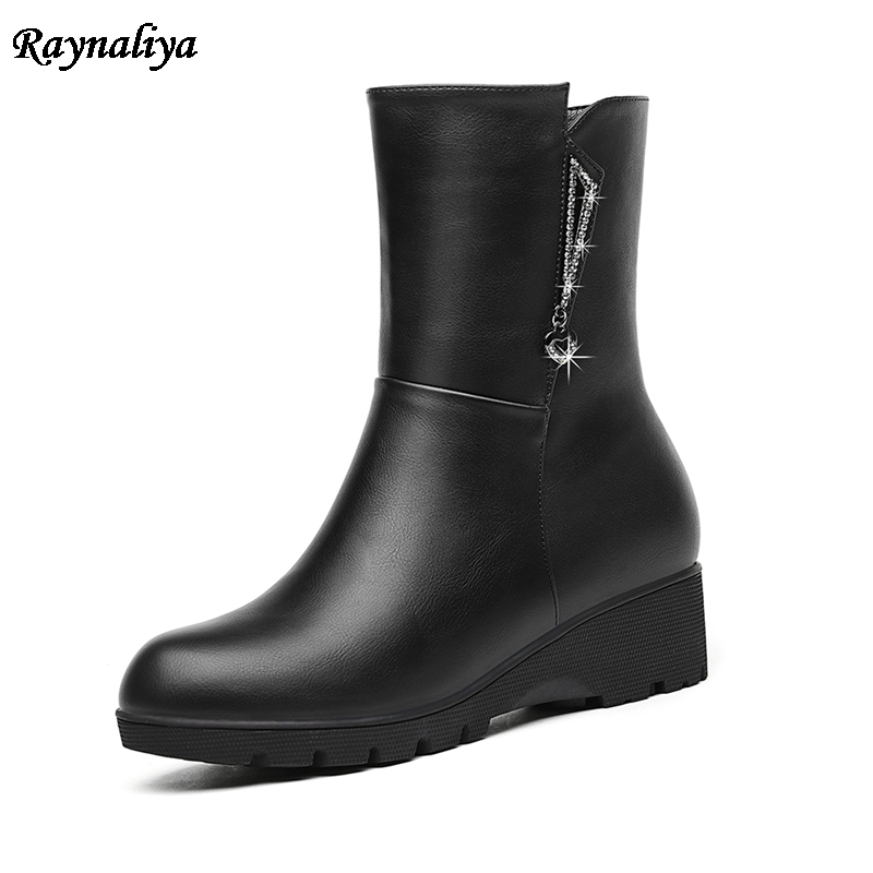 Sexy Lady Womens Boots Fashion Shoes Spring Autumn Wedge Thick Heels Boots Solid Zipper Platform Mid Calf Boots LSN-A0044 new arrival superstar genuine leather chelsea boots women round toe solid thick heel runway model nude zipper mid calf boots l63