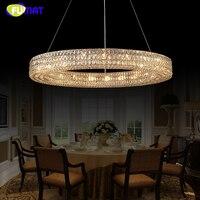 FUMAT Modern Crystal Chandelier Lustre K9 Cristal LED Round Light Ring Crystal Hanging Lamp for Living Room Indoor Lamp