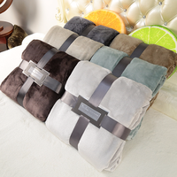 Modern Spring Cover Soft Flannel Blanket Pure Color Single Double Bed Office Coral Fleece Blanket For