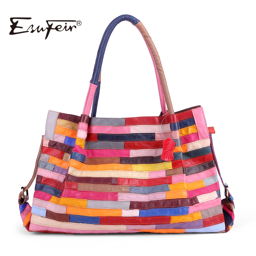 ESUFEIR Brand Genuine Leather Women Handbag Colorful Sheepskin Patchwork Shoulder Bag for Women Large Capacity Casual Tote Bag rdywbu brand genuine leather tote handbag 2017 women colourful flowers patchwork shoulder bag plaid messenger crossbody bag b293